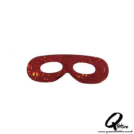 Máscara Holográfica Papel c/ 12 unid - Vermelho