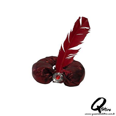 Turbante sultão Vermelho com pena - adulto