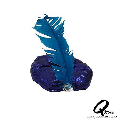 Turbante sultão Azul com pena - adulto