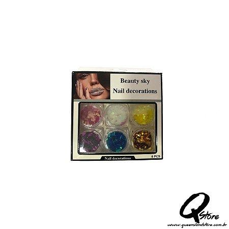 Kit Beauty Sky - Unha 6 Potinhos -Mod 4