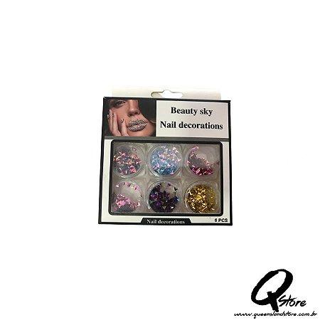 Kit Beauty Sky - Unha 6 Potinhos -Mod 7