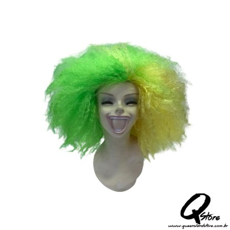 Peruca Black Power Gigante- Verde e Amarela