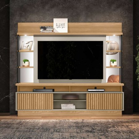 """HOME SALVADOR (2,18M) - Suporta Tv's de até 60"""" - Com LED ./CARVALHO /OFF WHITE"""