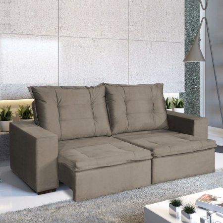 SOFA 3L ARIEL RETRÁTIL / RECLINÁVEL  2.12M VELUDO LIGHT/MARROM