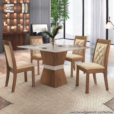 CONJUNTO MESA VITORIA + 4 CADEIRAS ATLANTA TEC 84 /OFF WHITE /CHOCOLATE