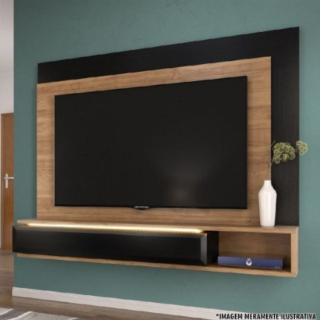 PAINEL ESSENZA (PARA TVS ATÉ 72'') C/LED BURITI ./PRETO TX