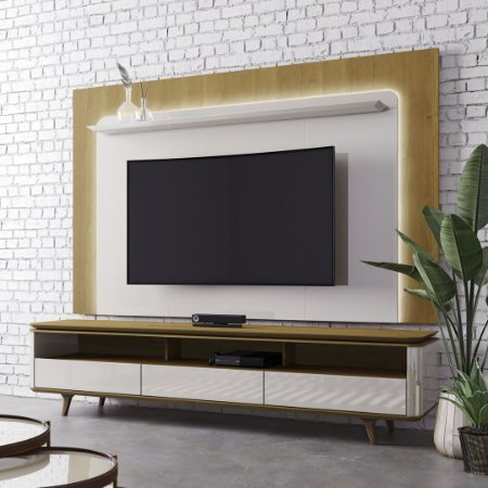 RACK + PAINEL ARC COM LED - LARG.: 220CM /OFF WHITE /NATURE