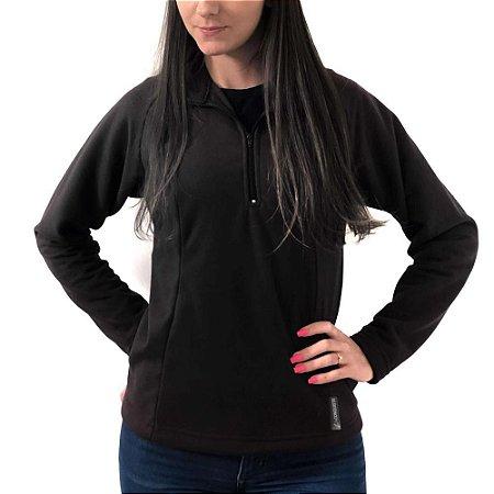 Blusa Fleece Charmoz Meio Zíper Feminino Conquista - Preto