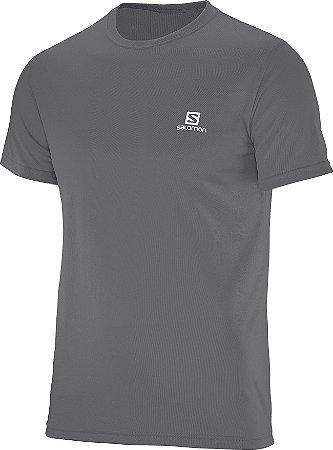 Camiseta Salomon Comet SS Masculino - Cinza Escuro