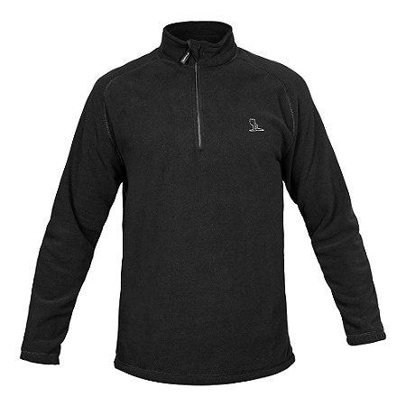 Blusa Curtlo 1/2 Zip Thermo Fleece Masculino - Preto