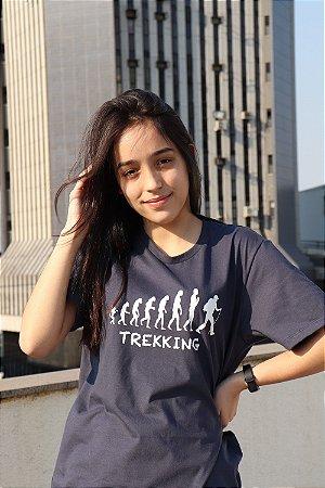 Camiseta Evolução do Trekking Unissex - Azul Petróleo