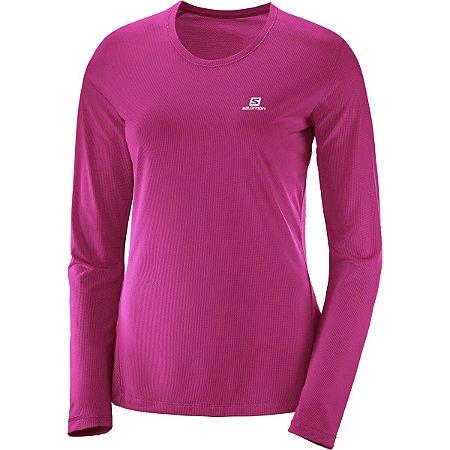 Camiseta Salomon Sonic LS Feminino - Coral