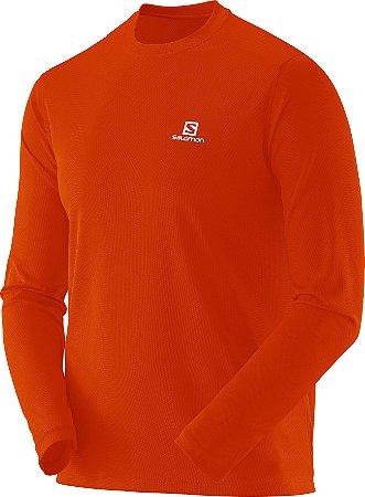 Camiseta Salomon Sonic LS UV Masculino - Laranja Fluorecente