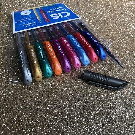 Cis canetas esferográficas glitter gel - estojo com 10 unidades