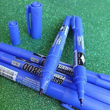 Marcador Permanente 800 Ponta Dupla Azul