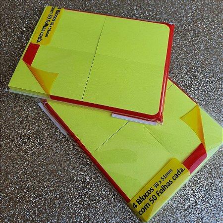 Stick on - 4 blocos adesivos - amarelo