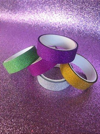 kit Washi tape! Fitas decorativas maravilindas de glitter! 5 und
