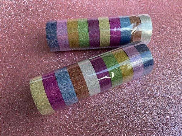 kit Washi tape! Fitas decorativas glitter! 10 und