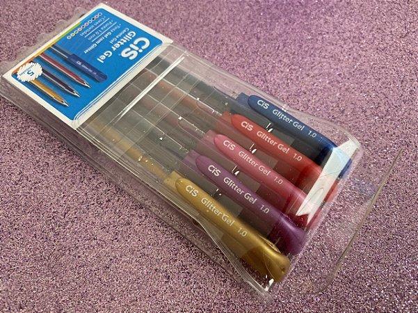 Cis canetas esferográficas glitter gel - estojo com 5 unidades