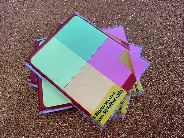 Stick on - 4 blocos adesivos - cores variadas