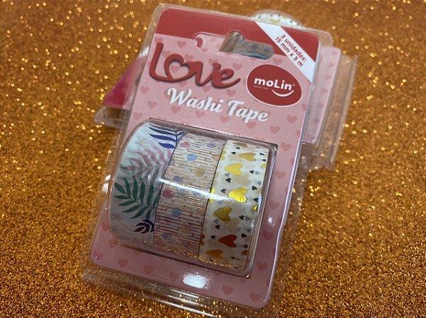 Washi Tape Molin - folha/bolinhas/coração