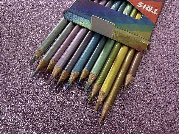 Lápis de cor Tris megasoft - kit com 12 cores metálicas