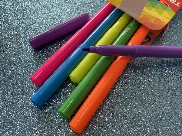 Conjunto de canetas hidrocor neon - 6 unidades