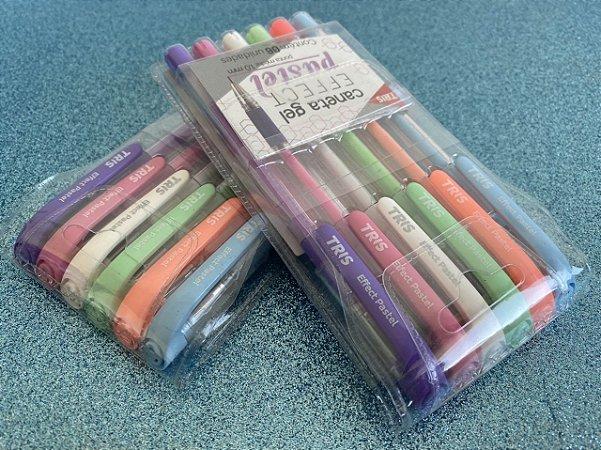 Caneta Tris Gel Effect Pastel - Estojo com 6 cores