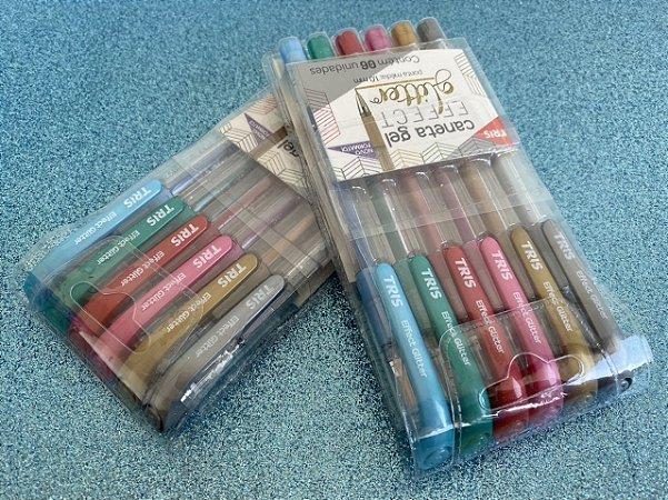 Caneta Tris Gel Effect Glitter - Estojo com 6 cores
