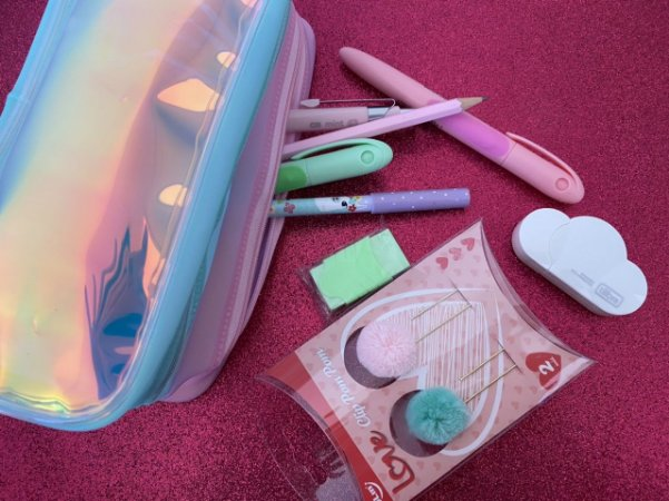 ESTOJO COMPLETO - verde e rosa pastel