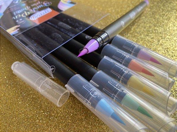 Brush Pen de cerdas BRW - estojo com 6 cores pastéis