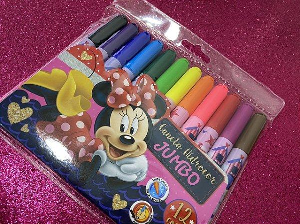 Caneta hidrocor jumbo - Minnie! 12 cores lindas!