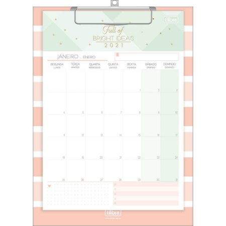 Calendário prancheta 2021 - Soho - Tilibra