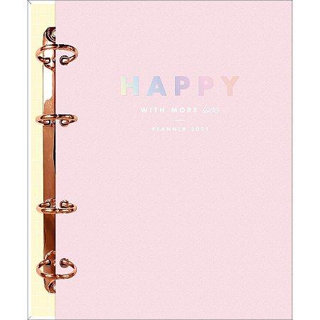 Planner argolado Happy - capa dura rosa - Tilibra