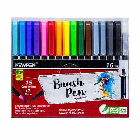Brush Pen Newpen - Estojo com 16 cores com blender