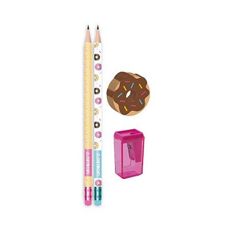 Kit lápis, borracha e apontador Donut