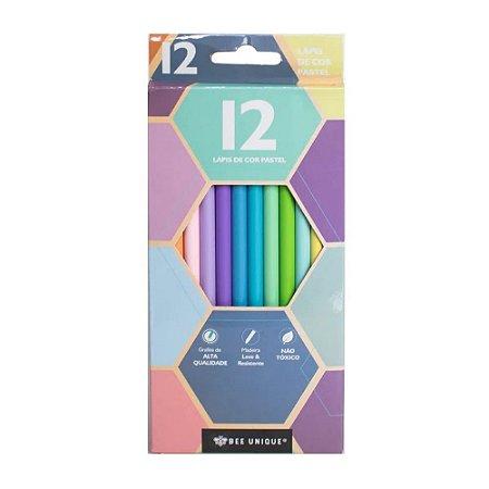 Lápis de cor - 12 cores - tom pastel - Bee Unique