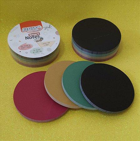 Bloco Adesivo BRW Round Cores Escuras 70mm