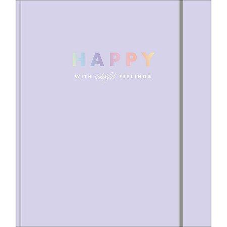 Caderno argolado colegial com elástico lilás - Happy
