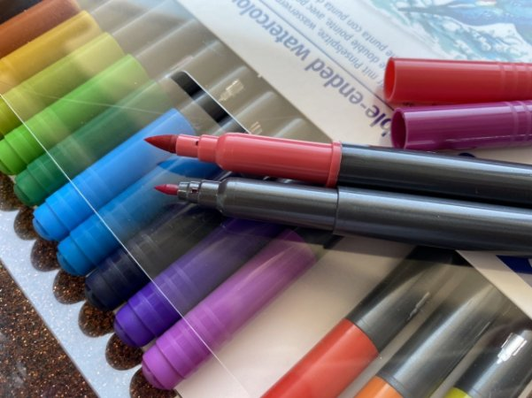 Brush pen aquarelável - ponta dupla - Staedtler (18 cores)