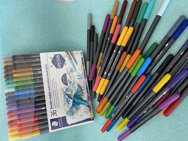 Brush pen aquarelável - ponta dupla - Staedtler (36 cores)
