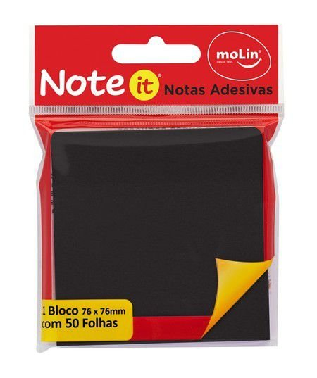 Bloco de Notas Adesivas Note It Preto 76x76mm - 50 folhas - Molin