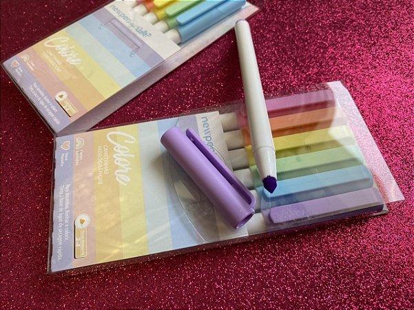 Caneta Colore - Estojo com 6 Cores Tons Pastéis - Newpen