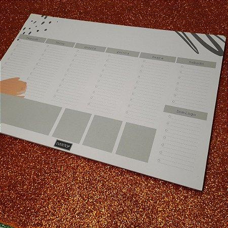 Planner de mesa Evertop estampa orgânica duas cores (laranja + cinza) - bloco destacável