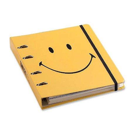 Caderno Criativo Argolado Smiley Amarelo - 17x24 - Cícero