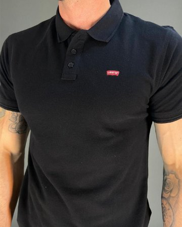 Camisa Polo Preta Básica Masculina Levi's