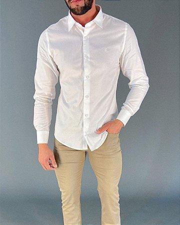 Camisa Social Fio 60 Manga Longa Masculina Lucage