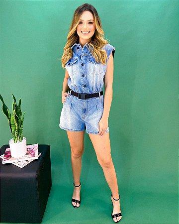 Macaquinho Jeans com Cinto Feminino