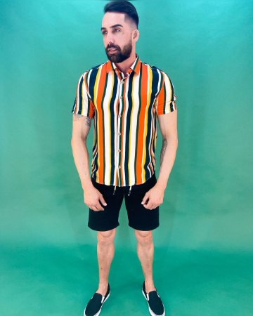 Camisa Manga Curta Listras Masculina
