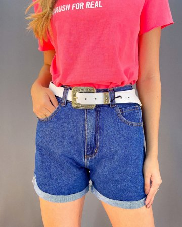 Shorts Jeans Cós Alto Feminino